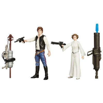 Bonecos-Star-Wars---Episodio-VII---9-cm---Han-Solo-e-Princesa-Leia---Hasbro