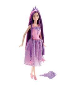 Boneca-Barbie-Colecionavel---Reinos-Magicos---Princesas-Penteados-Magicos---Cabelo-Roxo---Mattel