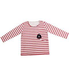Camiseta-Manga-Longa-Listrada-com-Bolso---Vermelha-e-Branca---Mickey-Mouse-College---Disney---2