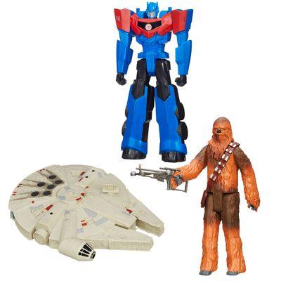 100121769-Kit-Personagens-Favoritos---Figuras-Articuladas-30-Cm---Chewbacca---Millenium-Falcon-e-Optimus-Prime---Hasbro