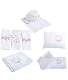 Kit-de-Lencois-Travesseiro-Paninhos-de-Boca-Toalha-e-Manta---Coelhinho---Azul---Colibri