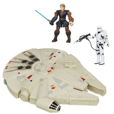 Kit-2-Bonecos---Veiculo---Star-Wars---Anakin-Jedi-Hero-Mashers-de-15-cm-Flametrooper-Articulado-de-30-cm-e-Millenium-Falcon-de-25-cm---Hasbro