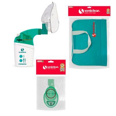 Kit-com-Bolsa-de-Transporte-e-Inalador-Nebulizador-Minisonic-NG-com-Acessorios---Soniclear