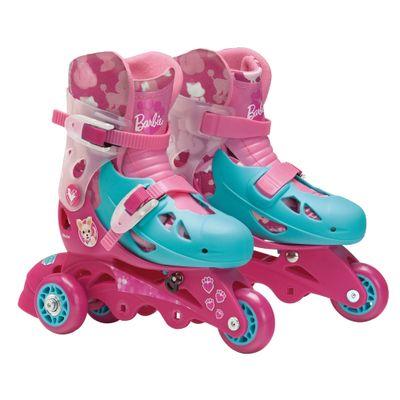 Patins-Ajustaveis-com-Kit-de-Seguranca---3-Rodas---Tamanho-29-a-32---Barbie---Fun-7785-5-frente
