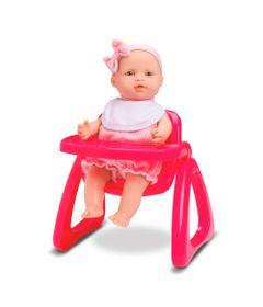 Boneca-Micro---Bebe-Mania-Papinha-com-Cadeirinha-Pink---Roma-Jensen