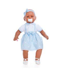 Boneca-Meu-Bebe---Colecao-Bebezinho-Negra---Vestido-Azul---Estrela