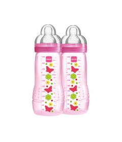 Mamadeira-Fashion-Bottle---Girl---330ml---Double-Pack---Flores---MAM