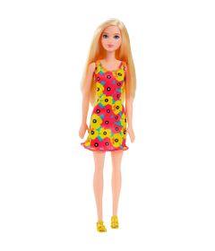 Boneca-Barbie---Fashion-And-Beauty---Loira-Vestido-Floral-Amarelo-e-Vermelho---Mattel