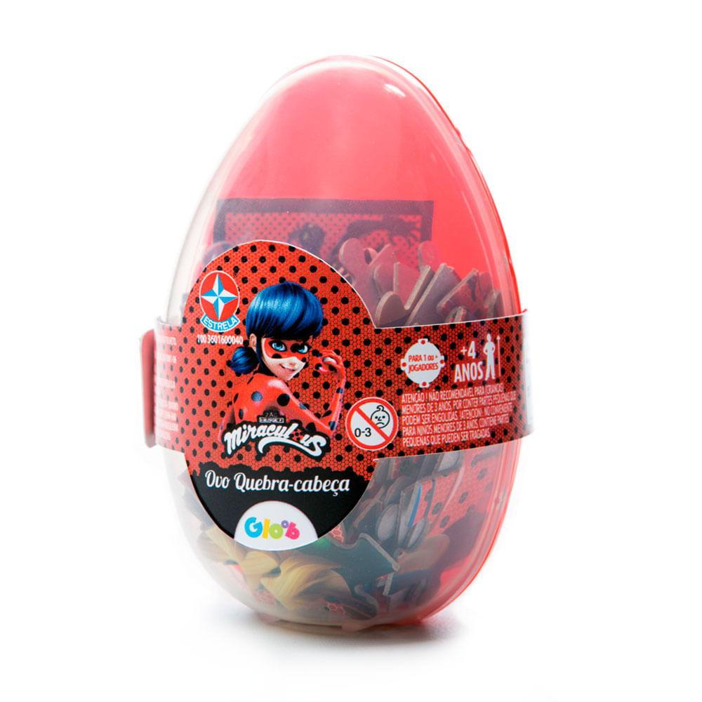 Quebra - Cabeça 60 Peças - Embalagem Especial Ovo de Páscoa - Miraculous - Ladybug - Estrela