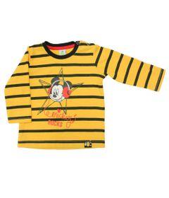 Camiseta-Manga-Longa-em-Meia-Malha---Mickey---Amarelo-e-Preto---Disney---P