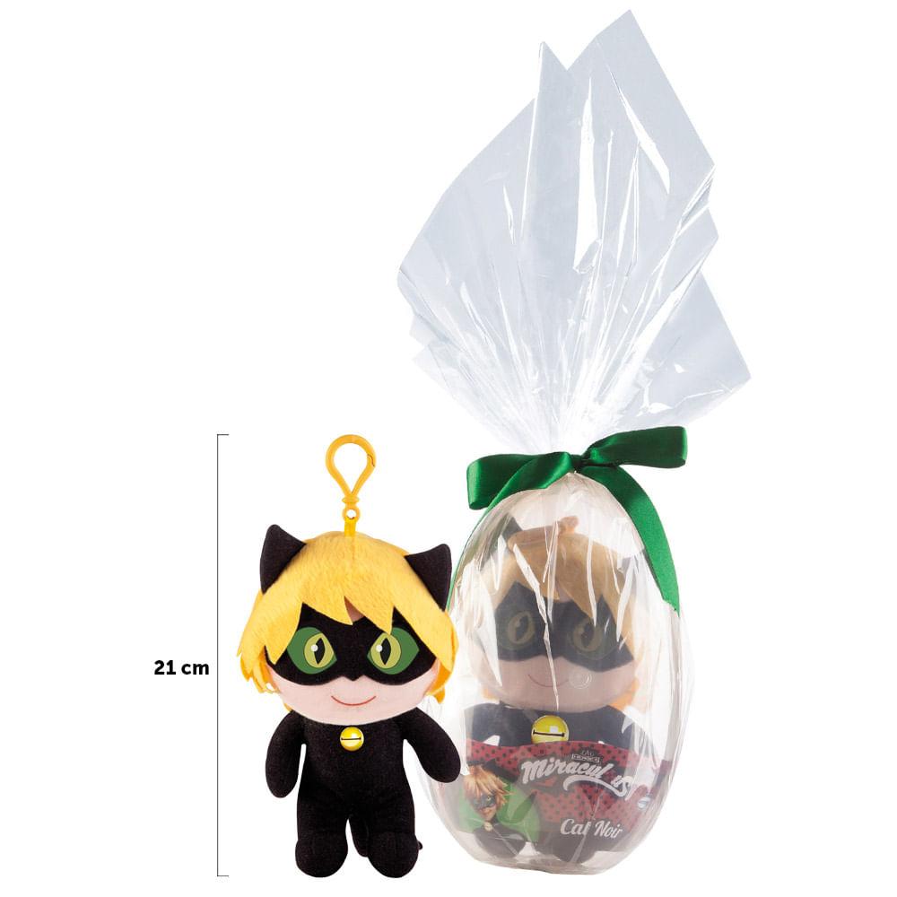 Pelúcia 21 Cm - Miraculous - Embalagem Especial Ovo de Páscoa - Cat Noir - Multibrink