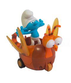 Veiculo-com-Mini-Figura---Smurfs---Clumsy-Smurf-e-Spitfire---Sunny