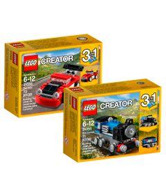 Kit-LEGO-Creator---31054---31055---Expresso-Azul-e-Carro-de-Corrida-Vermelho