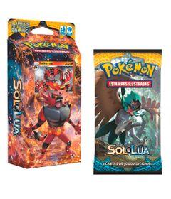Kit-Cards-Pokemon---Sol-e-Lua---Starter-Deck-Rugido-Ardente-e-Blister-Unitario-Decidueye---Copag