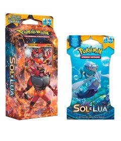Kit-Cards-Pokemon---Sol-e-Lua---Starter-Deck-Rugido-Ardente-e-Blister-Unitario-Primarina---Copag
