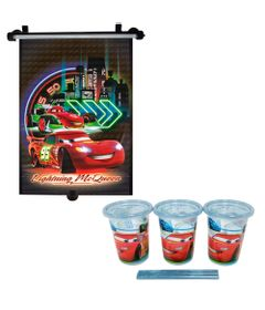 Kit-Disney---Carros---Copo-Com-Canudo-300Ml-e-Protetor-Solar