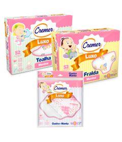 Kit-de-Acessorios-Baby-com-Toalha---Fralda-e-Cueiro-de-Luxo---Meninas---Cremer