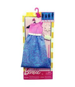 Roupinha-para-Boneca-Barbie---Look-Completo---Vestido-de-Um-Ombro-com-Saia-Floral-Azul---Mattel