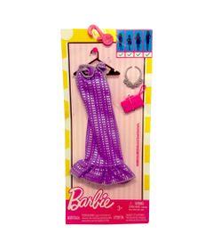 Roupinha-para-Boneca-Barbie---Look-Completo---Vestido-Tubinho-Roxo-com-Poas-Pratas---Mattel
